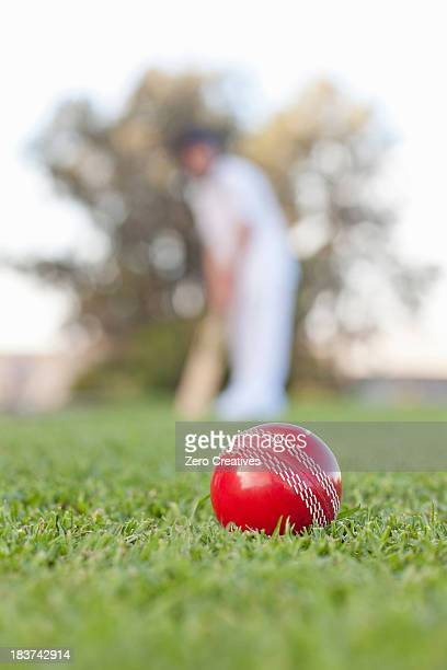 Cricket ball with man in background