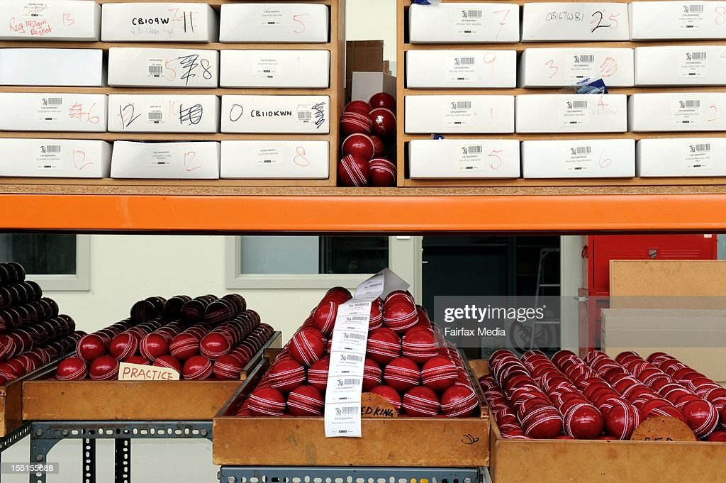 Cricket balls are ready for packing at the Kookaburra cricket ball factory at Moorabbin in Melbourne, October 24, 2012. This iconic manufacturer of Australian cricket balls is angered that Cricket Australia intends to introduce the English-made Dukes balls into domestic games. Kookaburra has virtually monopolised the local cricket ball market for the past 122 years. (Photo by Penny Stephens/Fairfax Media/Fairfax Media via Getty Images).