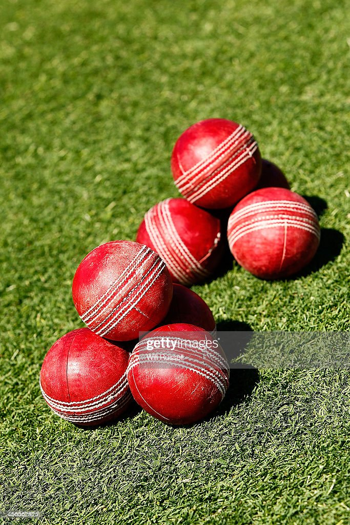 Cricket balls lie on the field at a practise session during day two of the Third Ashes Test Match between Australia and England at WACA on December 14, 2013 in Perth, Australia.
