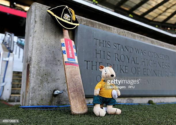 A cricket bat and Australian mascot Wally the Wallaby are placed at the entrance to the field in memory of Australian cricketer Phillip Hughes prior...