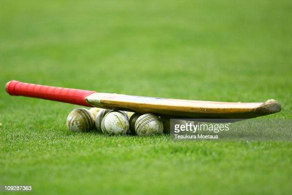 Cricket bat and balls are seen before the fourth Twenty20 match between the New Zealand and Australia at Queens Park on February 19 2011 in...