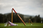 Cricket bats are placed at Donnelly Welsh Playing Fields in memory of Australian cricketer Phillip Hughes on November 28 2014 in Phillip Hughes'...