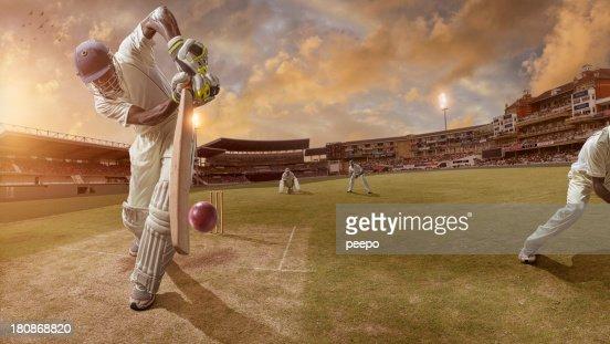 Cricket Batsman About to Strike Ball