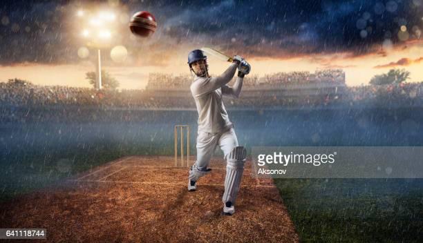 Cricket: Batsman on the stadium in action