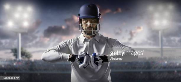 Cricket: Batsman on the stadium