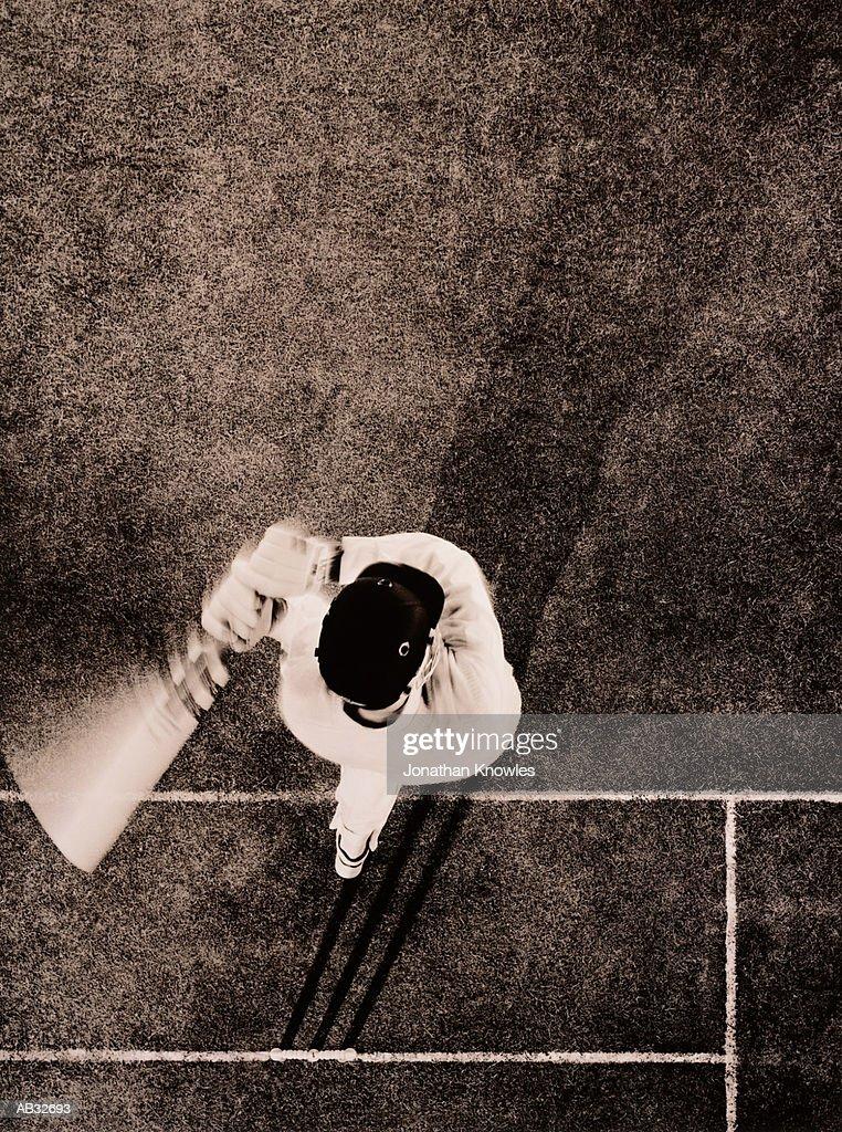 Cricket batsman, overhead view (toned B&W) : Stock Photo