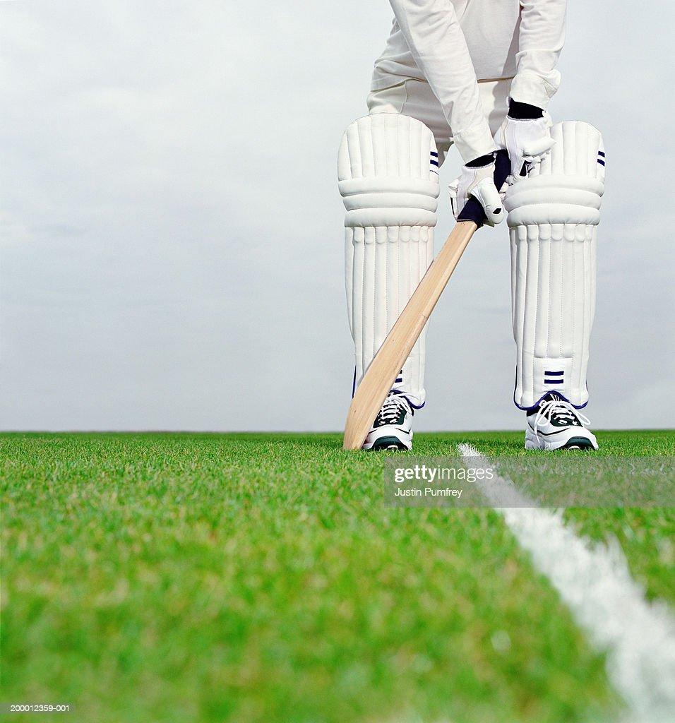Cricket batsman preparing to bat, low section : Stock Photo