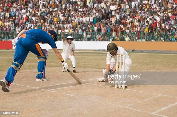 Cricket batsman scoring a run