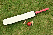 Cricket bat, ball and bails on cricket ground