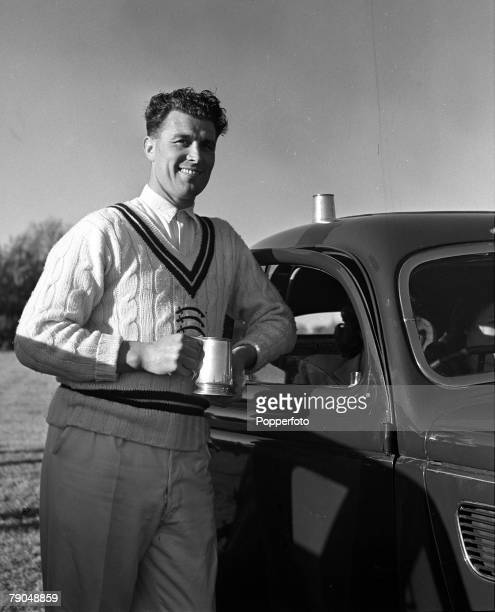 Cricket England A picture of the Middlesex cricketer and Arsenal and England footballer Leslie Compton enjoying a tankard of beer during his brother...