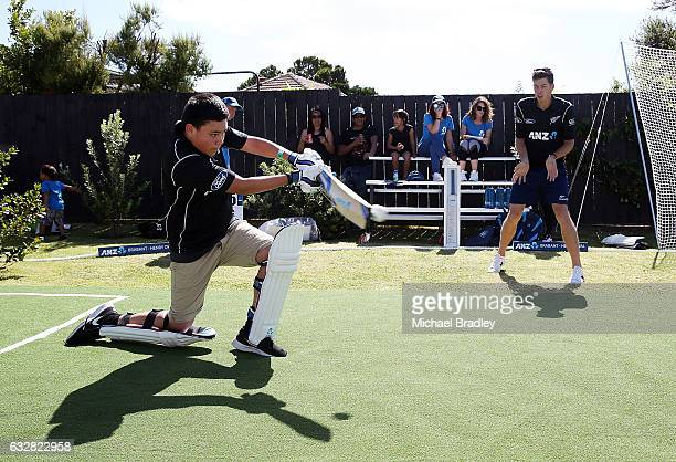 Cricket fan Christopher BrabantHenry aged 14 bats after he and his sister Regan aged 7 from Mangere couldn't believe their luck after returning home...