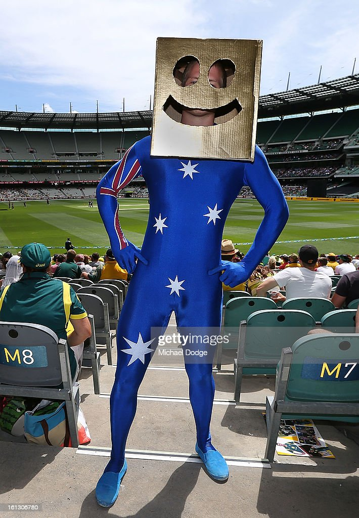 Cricket fan David Shepherd dresses up as Gold Box Head for the dress up for the day during game five of the Commonwealth Bank International Series between Australia and the West Indies at Melbourne Cricket Ground on February 10, 2013 in Melbourne, Australia.