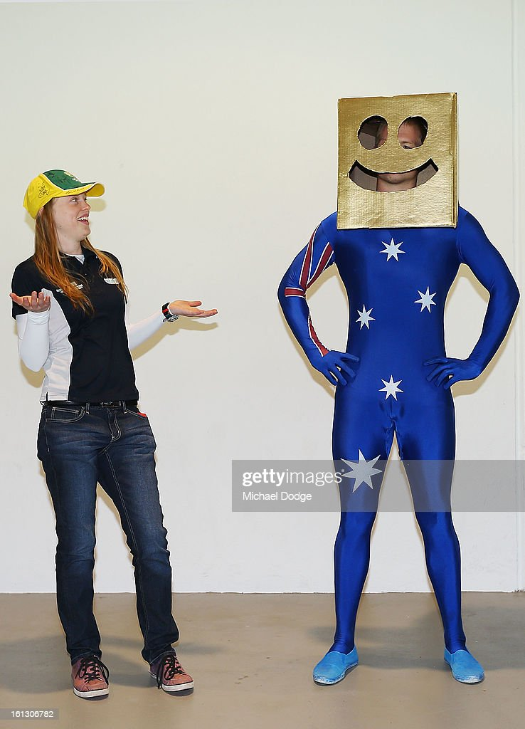 Cricket fan David Shepherd dresses up as Gold Box Head with his partner Kate Schie for the dress up for the day during game five of the Commonwealth Bank International Series between Australia and the West Indies at Melbourne Cricket Ground on February 10, 2013 in Melbourne, Australia.