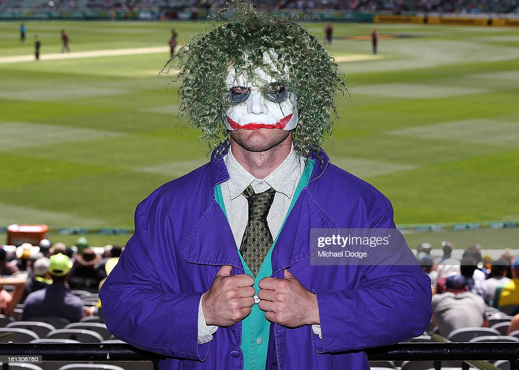 Cricket fan Travis Tragjasi turns up as the Joker for the dress up day during game five of the Commonwealth Bank International Series between Australia and the West Indies at Melbourne Cricket Ground on February 10, 2013 in Melbourne, Australia.