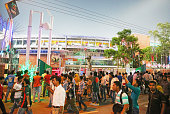 Cricket fans arrive at the ground before the ICC World Twenty20 Bangladesh 2014 match between Bangladesh and the West Indies at ShereBangla Mirpur...