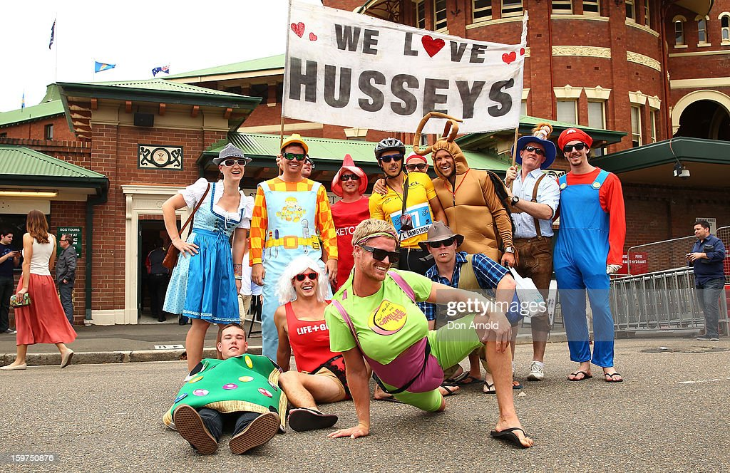 Cricket fans dressed up in costume pose just prior to the commencement of game four of the Commonwealth Bank one day international series between Australia and Sri Lanka at Sydney Cricket Ground on January 20, 2013 in Sydney, Australia.