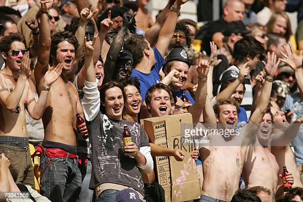 Cricket fans enjoy the atmosphere during the first oneday international match of ChappellHadlee Trophy series between New Zealand and Australia at...