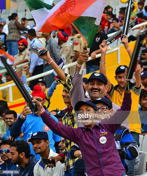 Cricket fans enjoying the first test match between India and South Africa at PCA Stadium on November 5 2015 in Mohali India