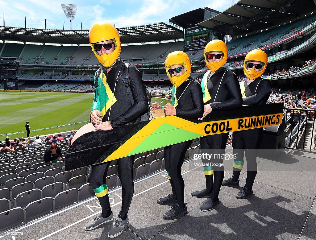 Cricket fans Matt Oake, Daniel Angili, Daniel Fistric and Sean Dunleavy turned up as the Jamaican Bobsled team for the dress up day during game five of the Commonwealth Bank International Series between Australia and the West Indies at Melbourne Cricket Ground on February 10, 2013 in Melbourne, Australia.