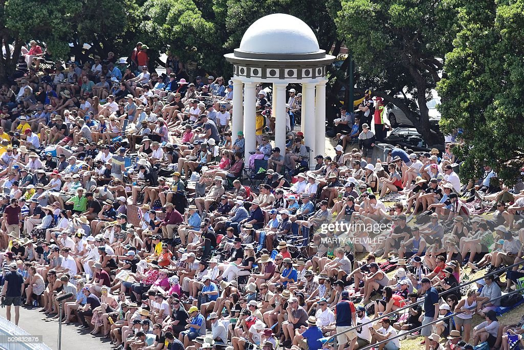 Cricket fans pack into the Basin Reserve to watch the game during day two of the first cricket Test match between New Zealand and Australia at the Basin Reserve in Wellington on February 13, 2016. / AFP / Marty Melville