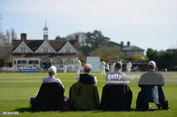 Cricket fans watch during Day 1 of the Pre Season match between Oxford MCCU v Nottinghamshire at the University Parks on April 1 2014 in Oxford...