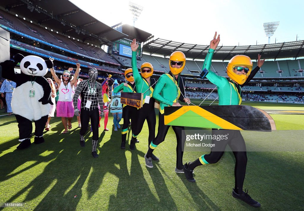 Cricket fans wearing fancy dress are seen during game five of the Commonwealth Bank International Series between Australia and the West Indies at Melbourne Cricket Ground on February 10, 2013 in Melbourne, Australia.