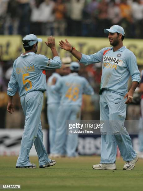 Cricket Gautam Gambhir and Yuvraj Singh celebrates during India vs England 2nd ODI match at Indore on Monday