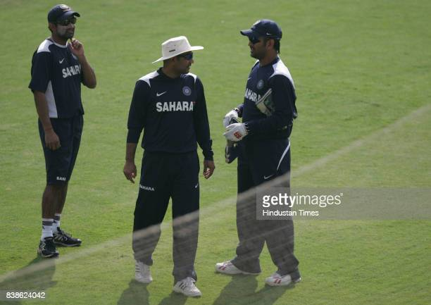 Cricket Gautam Gambhir Virender Sehwag and MS Dhoni throws the ball during Indian Cricket team net practice session at Indore on Sunday Morning