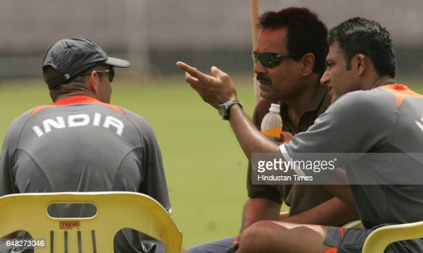 Cricket India vs South Africa India coach Gary Kirsten captain Anil Kumble and Chairman of Selection Committee Dilip Vengsarkar chats during India's...