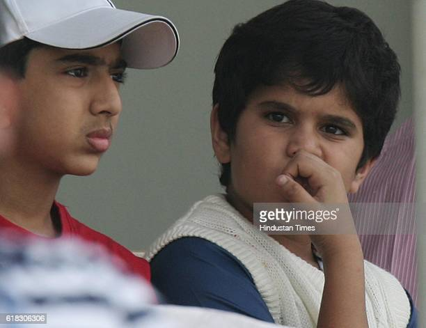 Cricket India vs Sri Lanka Test Series Arjun Tendulkar son of Sachin Tendulkar watchess the match with his friend during the third day of the third...