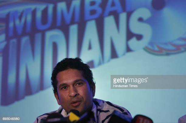 Cricket Indian Premier League Sachin Tendulkar interacts with media after unveiling the 'Mumbai Indians' name and logo of the Mumbai team of the IPL...