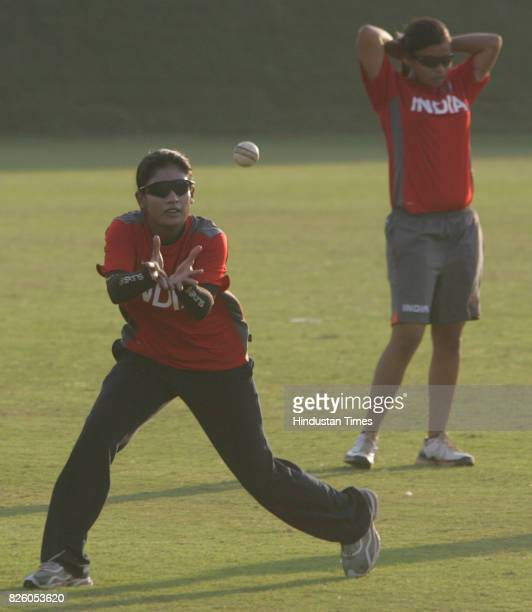 Cricket Indian Women Cricket Team Mithali Raj former captain of India Women cricket team practices with the team during the teams practice session at...