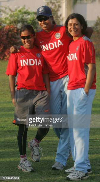Cricket Indian Women cricket teams vice captain Amita Sharma captain Jhulan Goswami and former captain Anjum Chopra during the teams practice session...