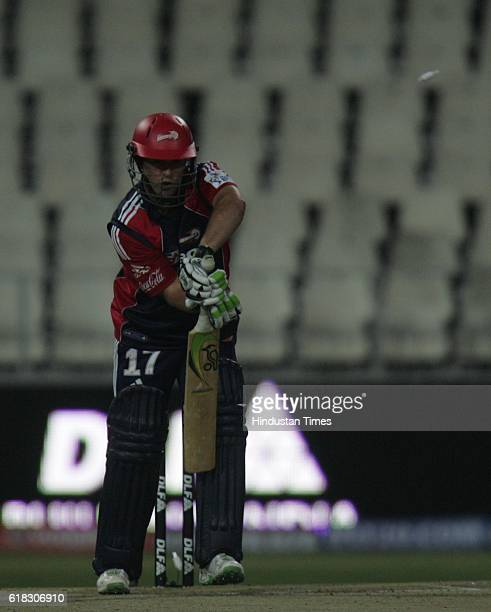 Cricket IPL2 Delhi's AB deVilliers is bowled by Chennai's bowler Tyagi during the match between Delhi and Chennai at Wanderers ground Johannesburg