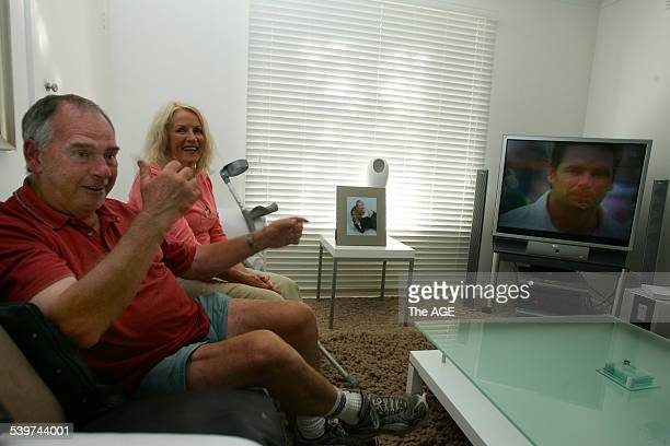 Cricket John and Val Hodge parents of Brad watching their son make 200 on television against South Africa in Perth on 19th December 2005 THE AGE NEWS...