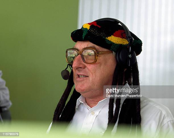 Cricket Journalist and broadcaster Henry Blofeld wearing a rasta hat during the 6th Test match against the West Indies at the Recreation Ground in St...