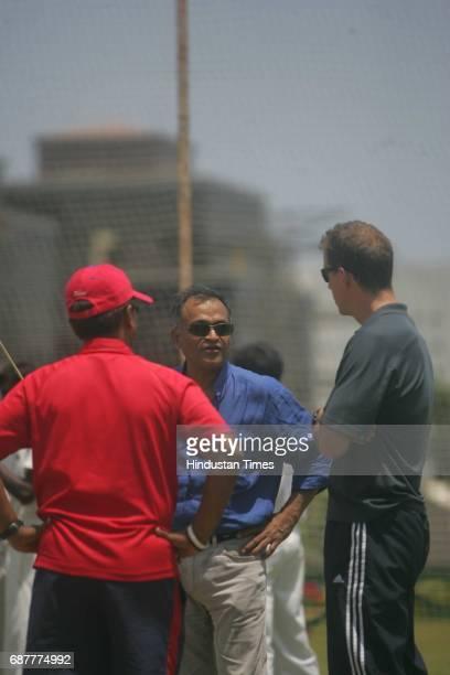 Cricket Kiran More and Andrew Leipus with Niranjan Shah at BKC ground
