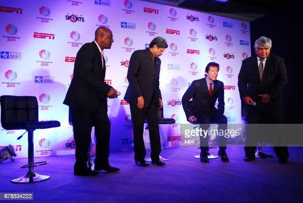 Cricket legends India's Kapil Dev West Indies' Vivian Richards Pakistan's Imran Khan and Sri Lanka's Arjuna Ranatunga admiring the ICC Cricket World...