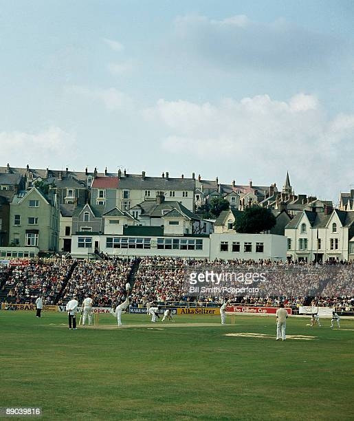 A cricket match between Glamorgan and Leicestershire in progress at Swansea circa 1980 David Gower is batting for Leicestershire
