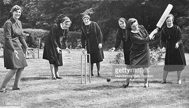 Cricket played on the front lawn of St Catherine's Convent in the Lancashire town of Leyland