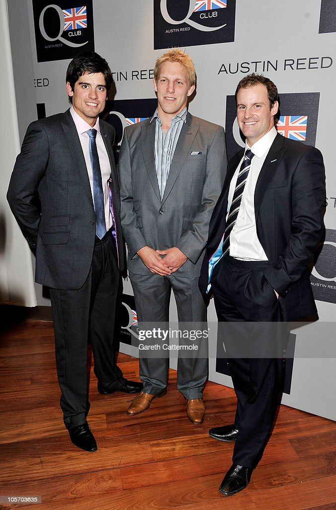 Cricket player Alastair Cook, Rugby player Lewis Moody and cricket player Andrew Strauss attend the Austin Reed Q Club Launch at the Austin Reed Regent Street store on October 19, 2010 in London, England.