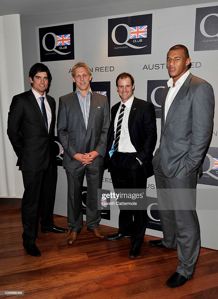 Cricket player Alastair Cook, Rugby player Lewis Moody, cricket player Andrew Strauss and rugby player Courtney Lawes attend the Austin Reed Q Club Launch at the Austin Reed Regent Street store on October 19, 2010 in London, England.
