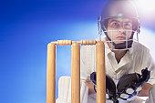 Cricket player waiting at bats