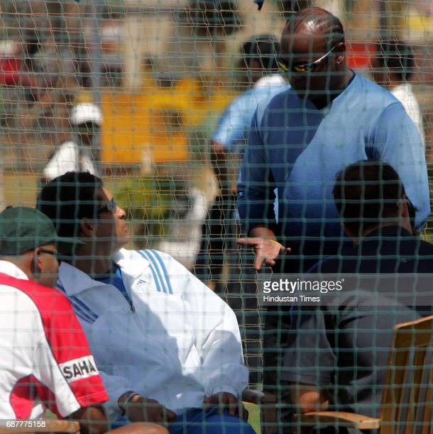 Cricket Sachin Tendulkar speaks with Vinod Kambli after being declared UNFIT at BKC Ground on Tuesday
