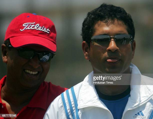 Cricket Sachin Tendulkar with Kiran More after being declared UNFIT at BKC Ground on Tuesday