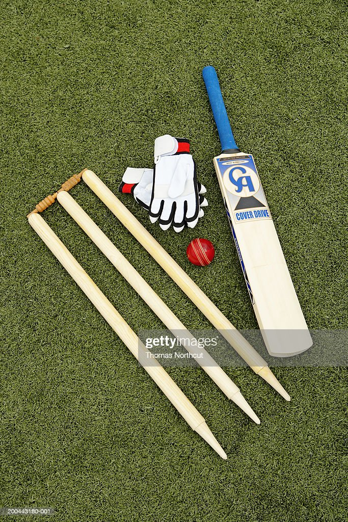 Cricket stump, bat, ball and gloves on artificial turf, elevated view