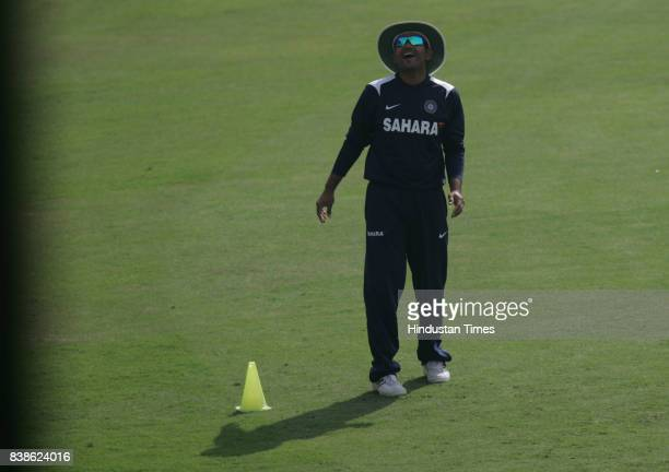 Cricket Virender Sehwag during Indian Cricket team net practice session at Indore on Sunday Morning
