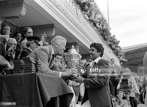 Cricket World Cup 1983 Final India v West Indies at Lord's Kapil Dev receives the Prudential World Cup from the Prudential Managing Director 63387_17
