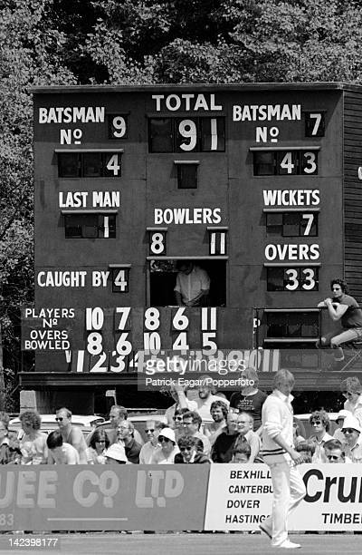 Cricket World Cup 1983 India v Zimbabwe at Tunbridge Wells The scoreboard as India start the recovery they had been 787 63355_19A photograph by Jan...