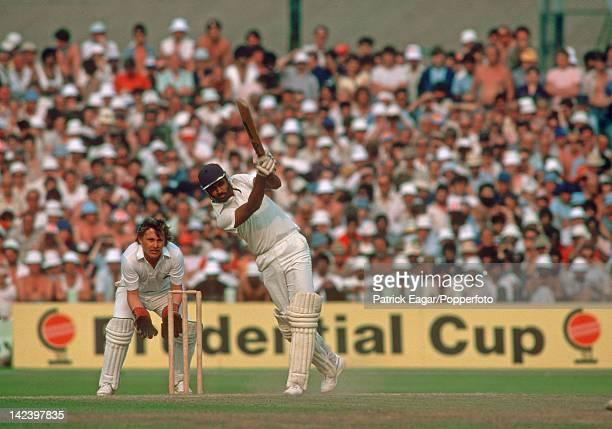 Cricket World Cup 1983 semi final England v India at Old Trafford Mohinder Amarnath drives Vic Marks E835399